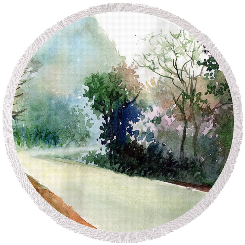 Landscape Water Color Nature Greenery Light Pathway Round Beach Towel featuring the painting Turn RIght by Anil Nene
