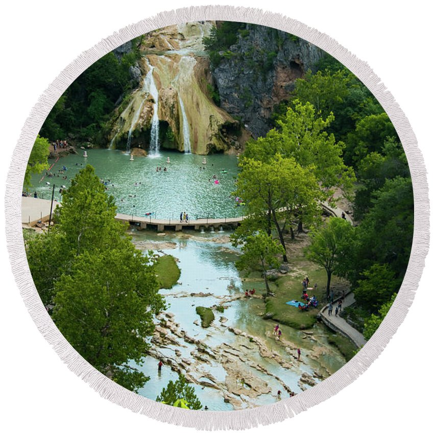 Turner Falls State Park Round Beach Towel featuring the photograph Turner Falls Grand View Two by Bob Phillips