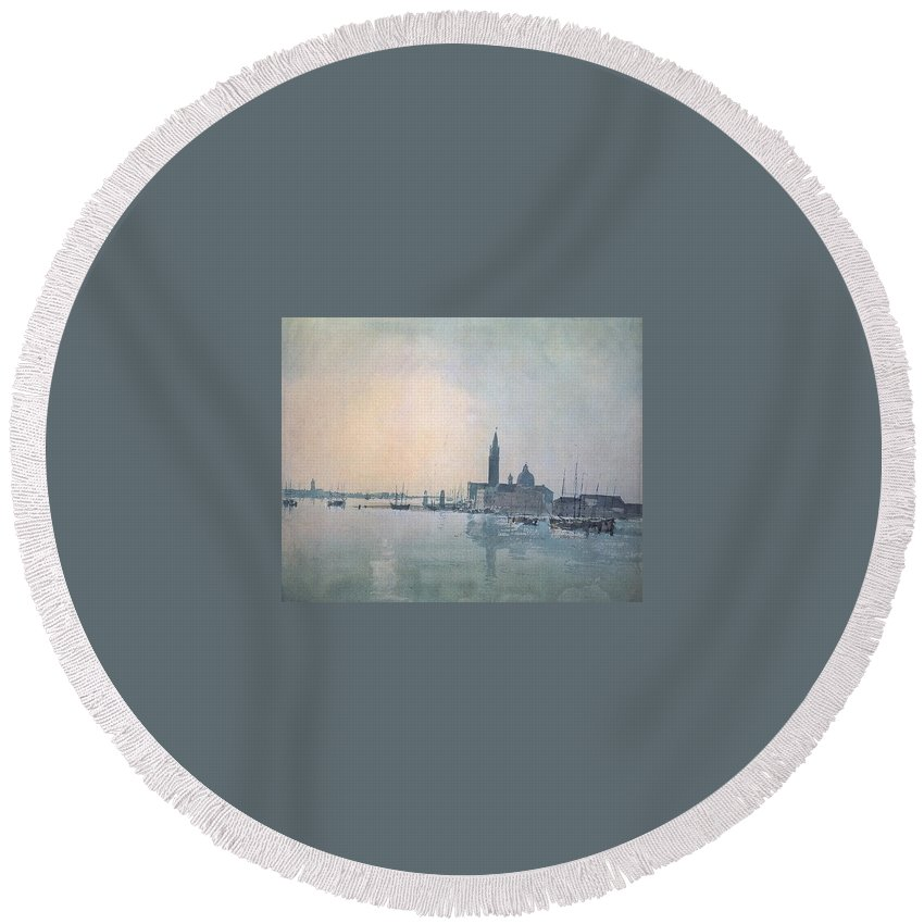 City Round Beach Towel featuring the digital art Turner Joseph Mallord William San Giorgio Maggiore In The Morning Joseph Mallord William Turner by Eloisa Mannion