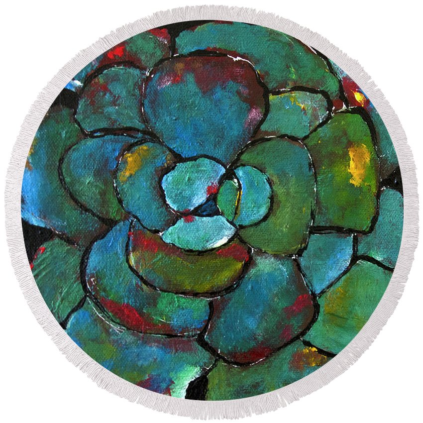 Agave Round Beach Towel featuring the painting Turquoise Agave by Maggie Turner
