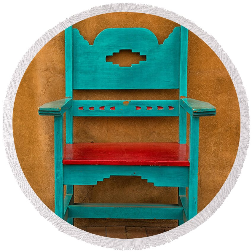 Adobe Round Beach Towel featuring the photograph Turquoise And Red Chair by Jerry Fornarotto