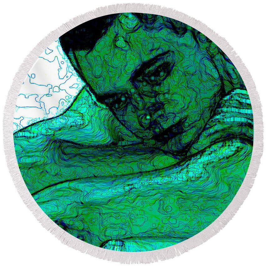 Abstract Round Beach Towel featuring the digital art Turquoise Man by Stephen Lucas