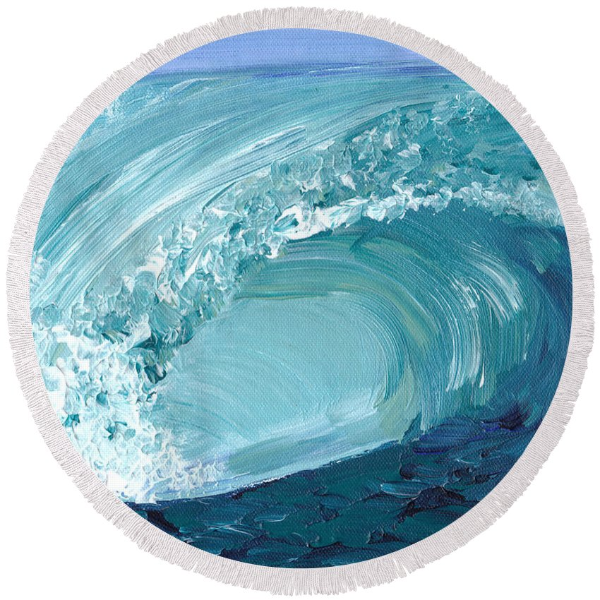 Wave Round Beach Towel featuring the painting Turquoise Room by Shelley Myers