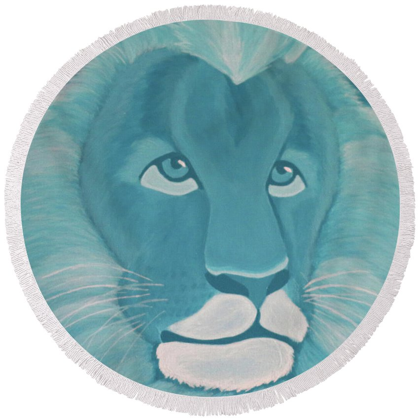Turquoise Lion Round Beach Towel