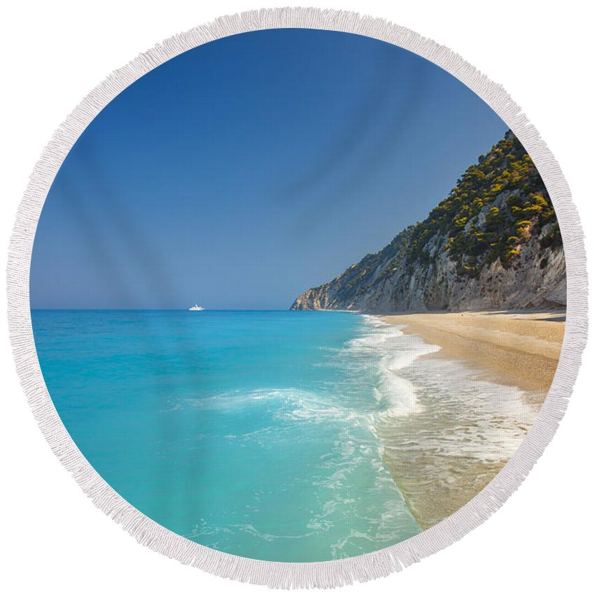 Beach Round Beach Towel featuring the photograph Turquoise Water Paradise Beach by Sandra Rugina