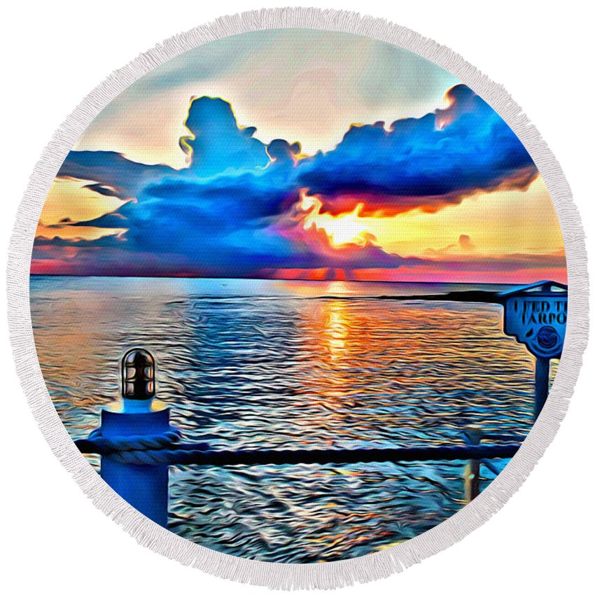 Cloud Round Beach Towel featuring the digital art Turtle Cloud by Anthony C Chen