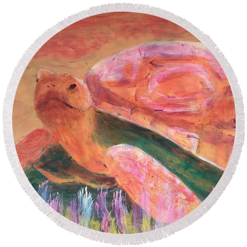 Art Portfolio Round Beach Towel featuring the painting Tortoise by Donald J Ryker III