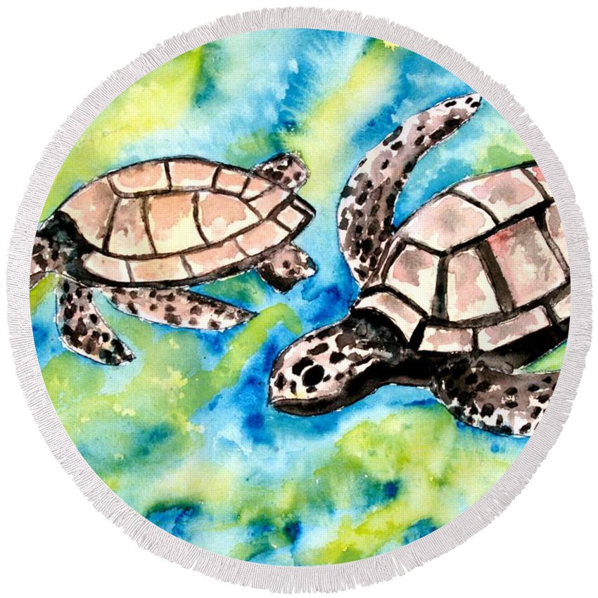 Love Round Beach Towel featuring the painting Turtle Love Pair Of Sea Turtles by Derek Mccrea