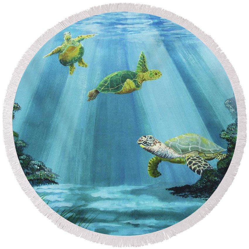 Turtle Round Beach Towel featuring the painting Turtle Reef by Kris Crollard