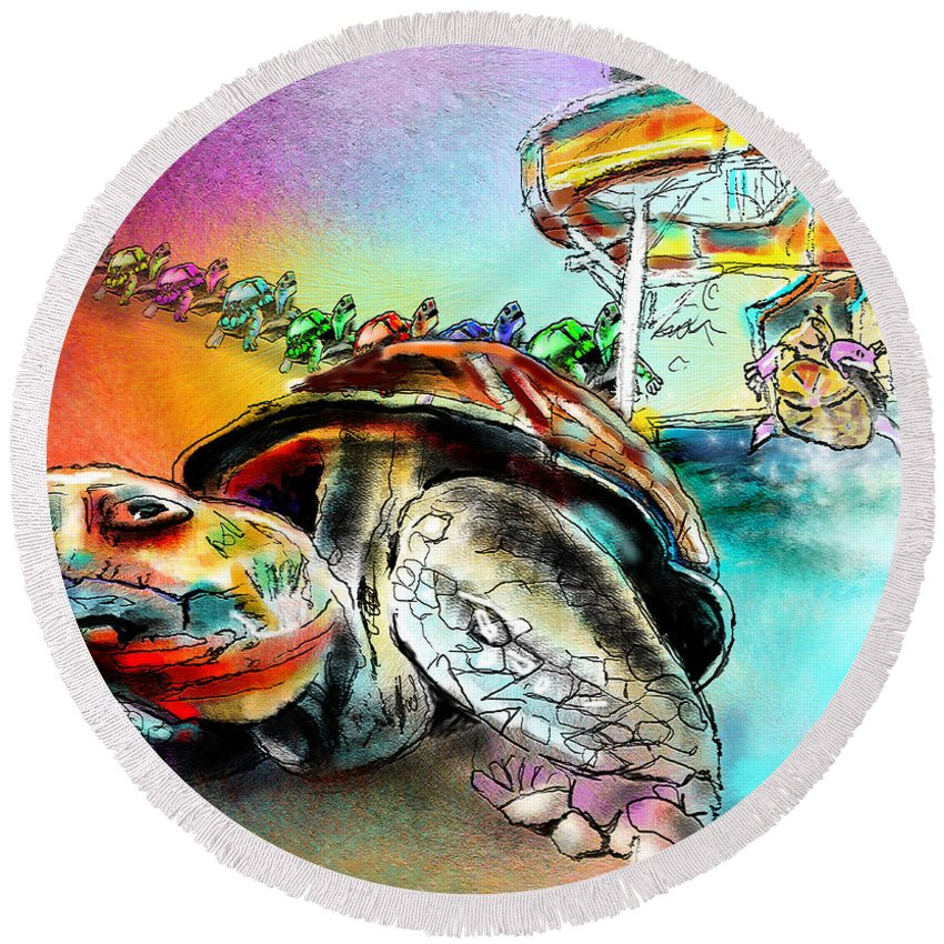 Turtle Round Beach Towel featuring the painting Turtle Slide by Miki De Goodaboom