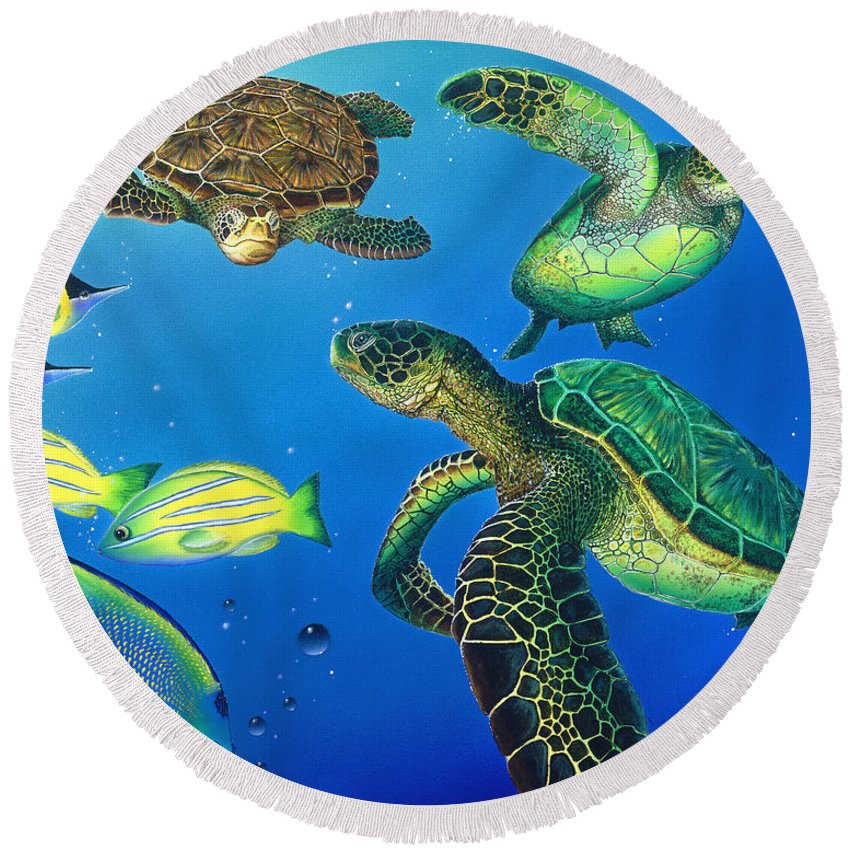 Turtle Round Beach Towel featuring the painting Turtle Towne by Angie Hamlin
