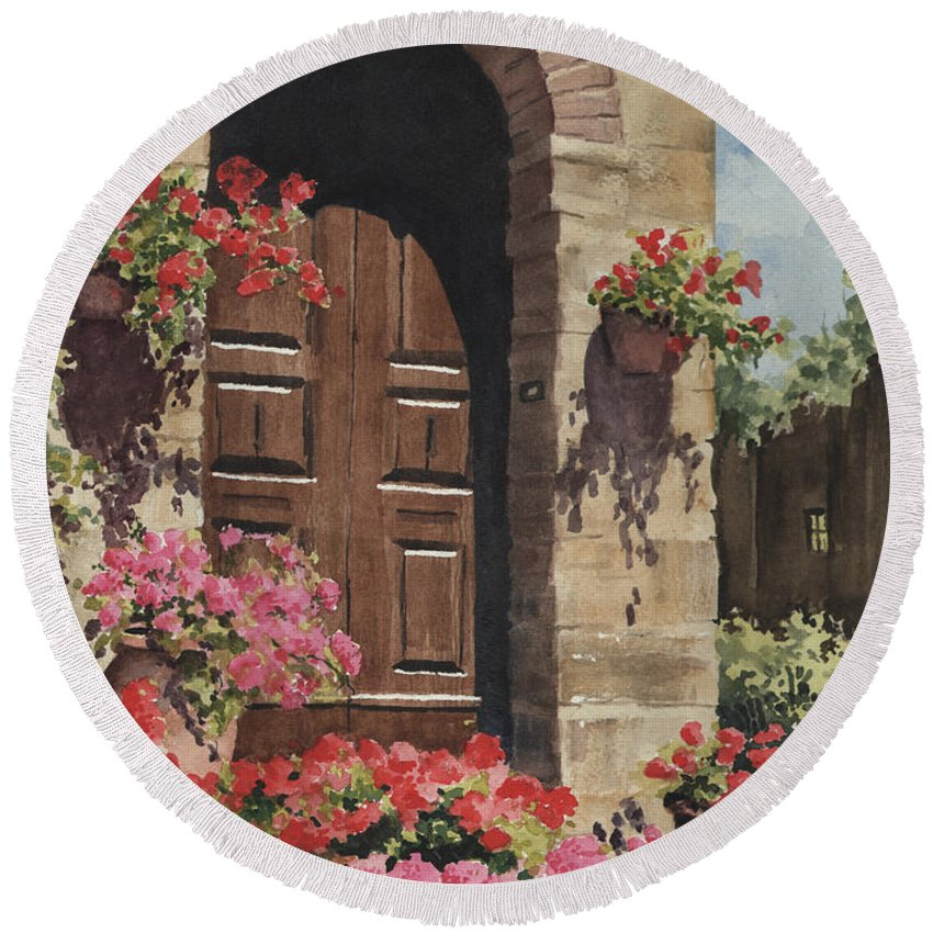 Flowers Round Beach Towel featuring the painting Tuscan Door by Sam Sidders