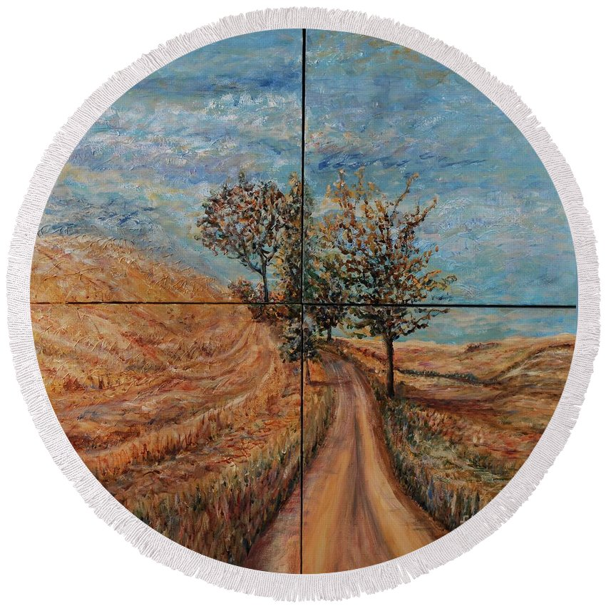 Landscape Round Beach Towel featuring the painting Tuscan Journey by Nadine Rippelmeyer