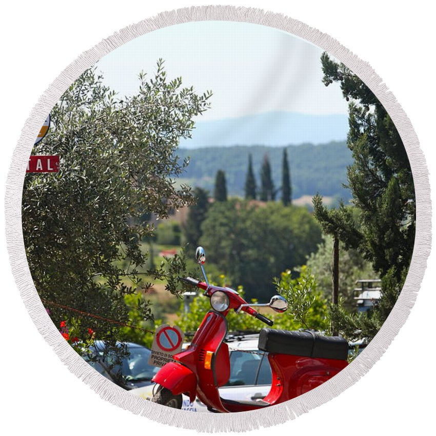Scooter Round Beach Towel featuring the photograph Tuscan Landscape And Scooter by Nadine Rippelmeyer