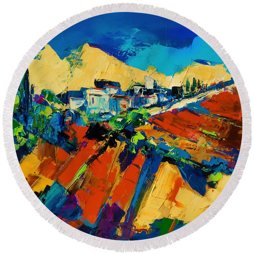 Village Round Beach Towel featuring the painting Tuscan Light by Elise Palmigiani