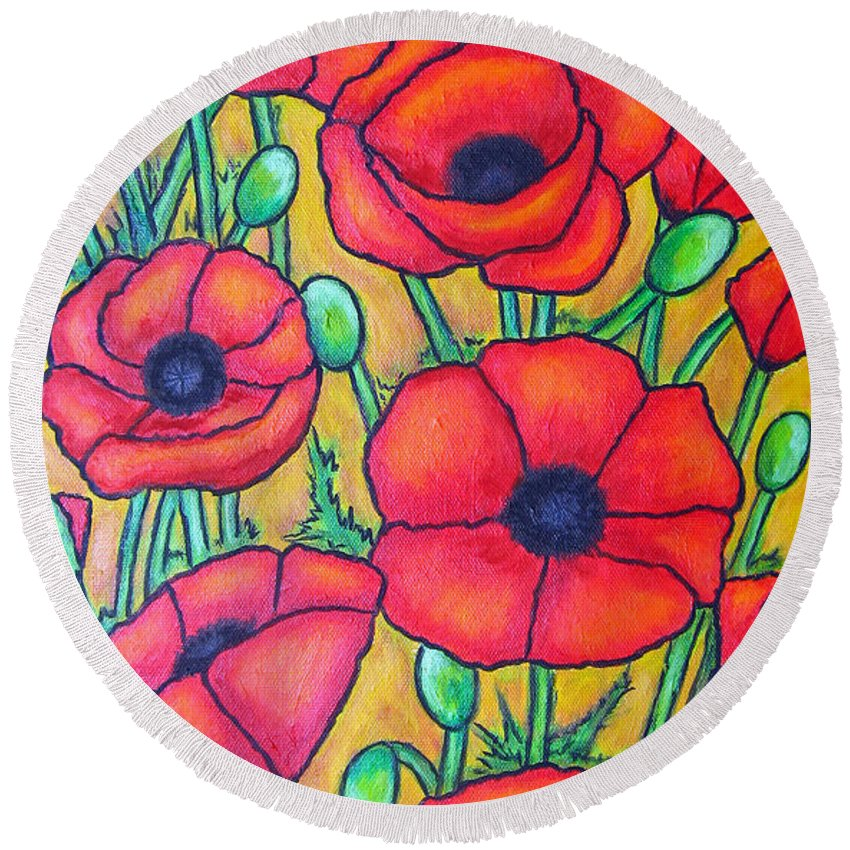 Poppies Round Beach Towel featuring the painting Tuscan Poppies - Crop 1 by Lisa Lorenz