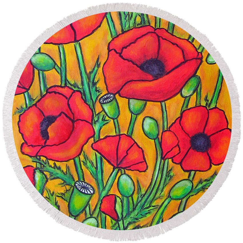 Poppies Round Beach Towel featuring the painting Tuscan Poppies - Crop 2 by Lisa Lorenz