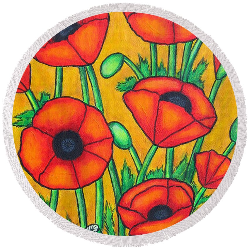 Colourful Round Beach Towel featuring the painting Tuscan Poppies by Lisa Lorenz