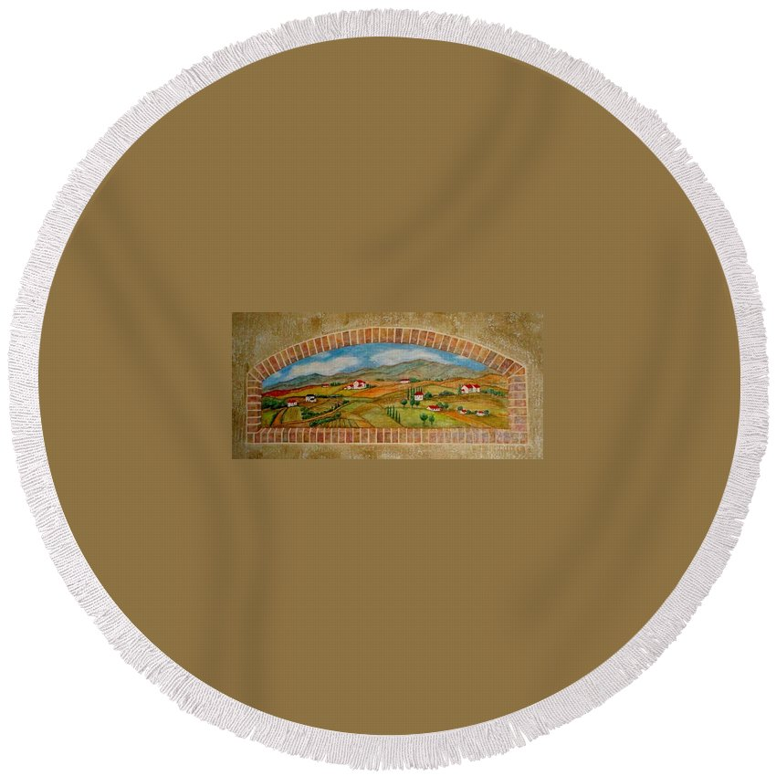 Mural Round Beach Towel featuring the painting Tuscan Scene Brick Window by Anita Burgermeister
