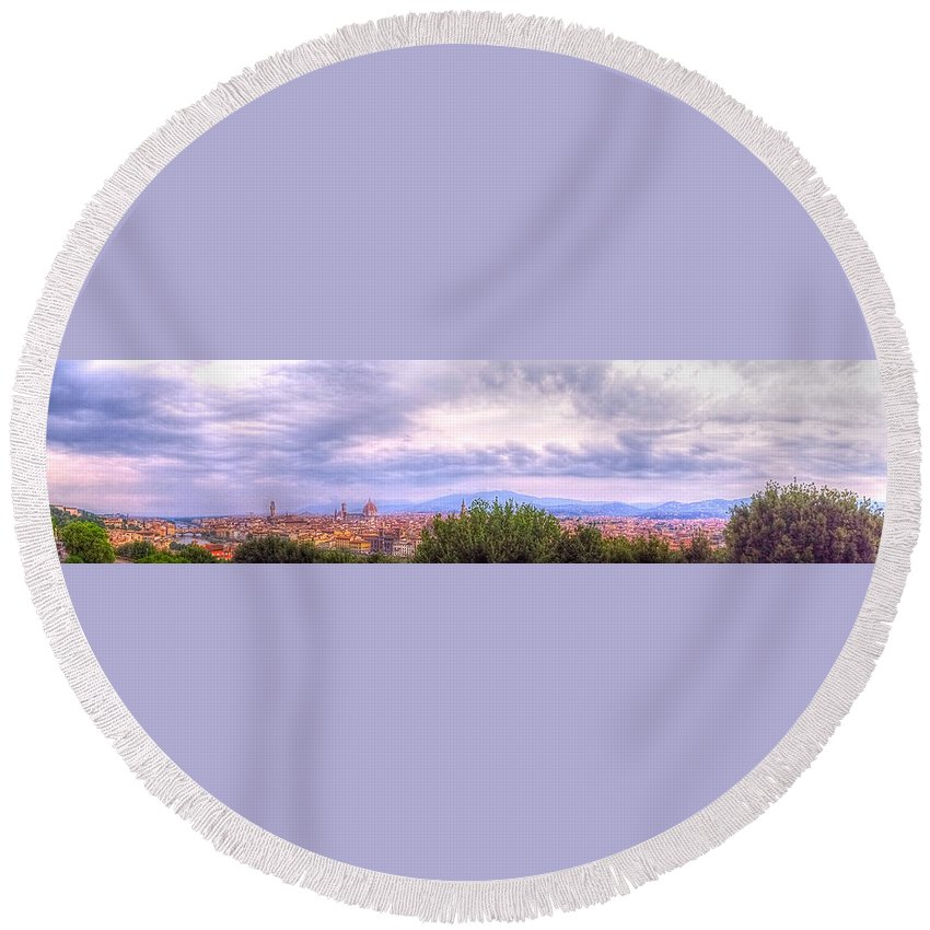 Firenze Round Beach Towel featuring the photograph Tuscan Summer by Stephen Settles