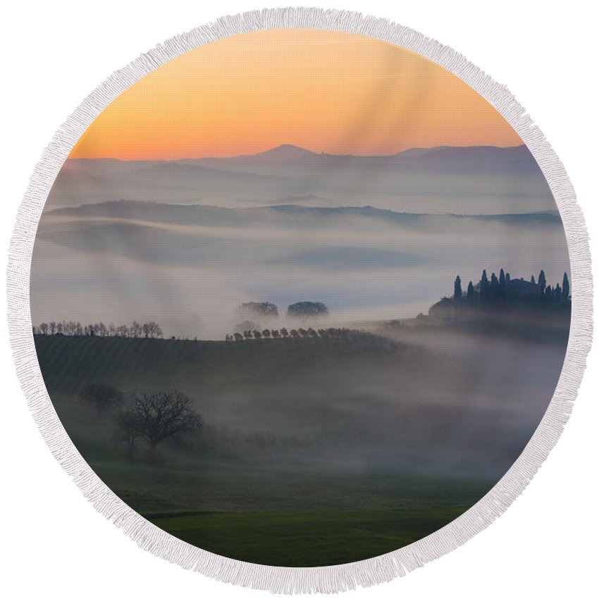 April Round Beach Towel featuring the photograph Tuscan Sunrise by Brian Jannsen
