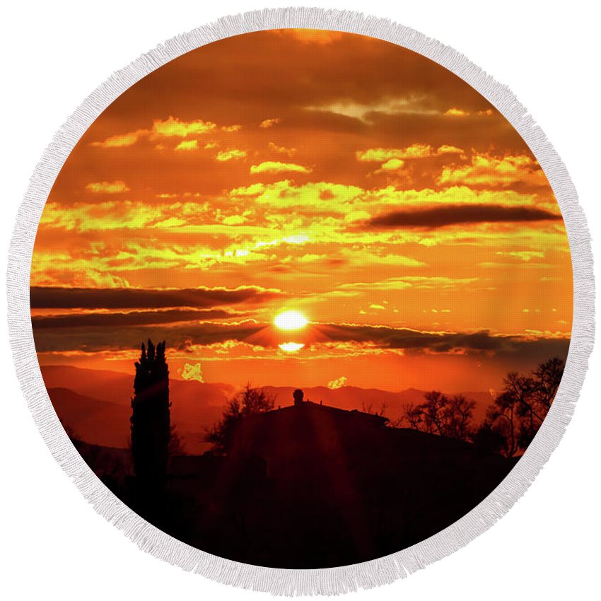Hill; Italian; Agriculture; Italy; Tuscan; Silhouette; Vineyard; Cypress; Olive; Trees; Countryside; Sunset; Scenic; Nature; Europe; Tuscany; Landscape; Beverage; Drink; Celebration; Grapes; Background; Country; Plant; Outdoor; Valley; Red; Tourism; Chianti; Greve; Clouds; Sky; Mediterranean; Characteristic; Silhouette; Cypress Round Beach Towel featuring the photograph Tuscan Sunset by Alessandro Landi