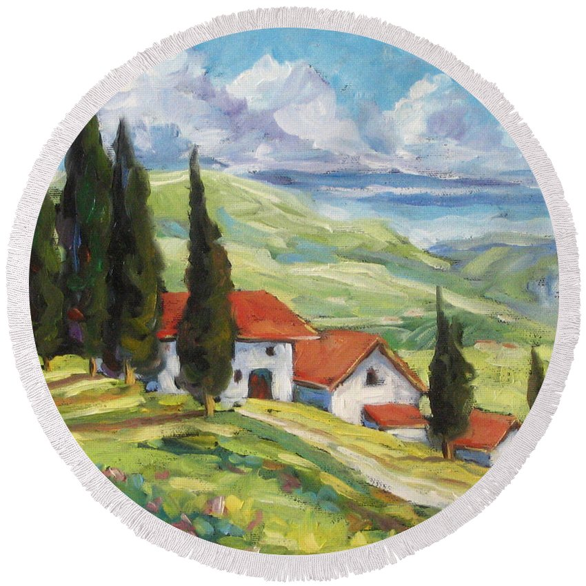 Tuscan Round Beach Towel featuring the painting Tuscan Villas by Richard T Pranke