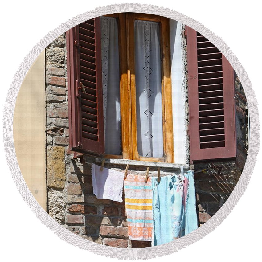 Tuscany Round Beach Towel featuring the photograph Tuscan Window And Laundry by Nadine Rippelmeyer