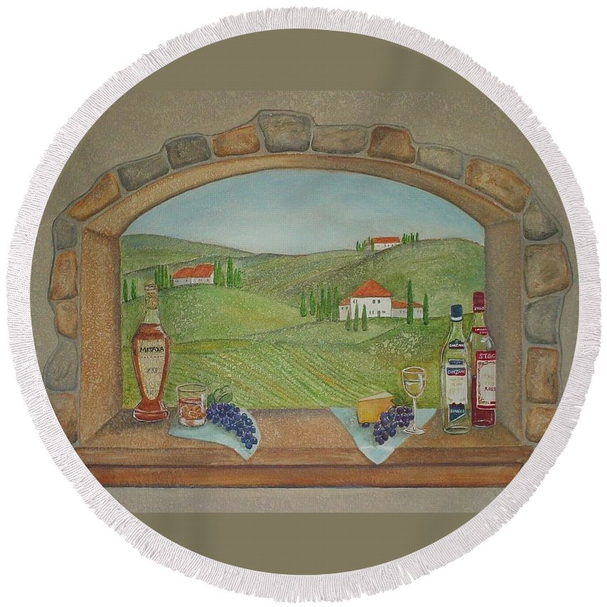 Mural Round Beach Towel featuring the painting Tuscan Window View by Anita Burgermeister