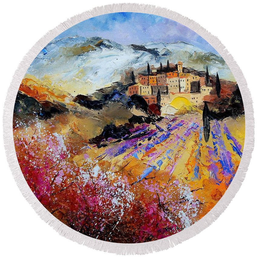 Provence Round Beach Towel featuring the painting Tuscany 56 by Pol Ledent