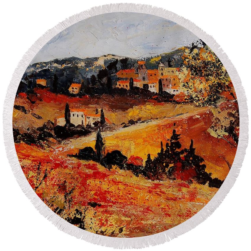 Provence Round Beach Towel featuring the painting Tuscany 56n by Pol Ledent