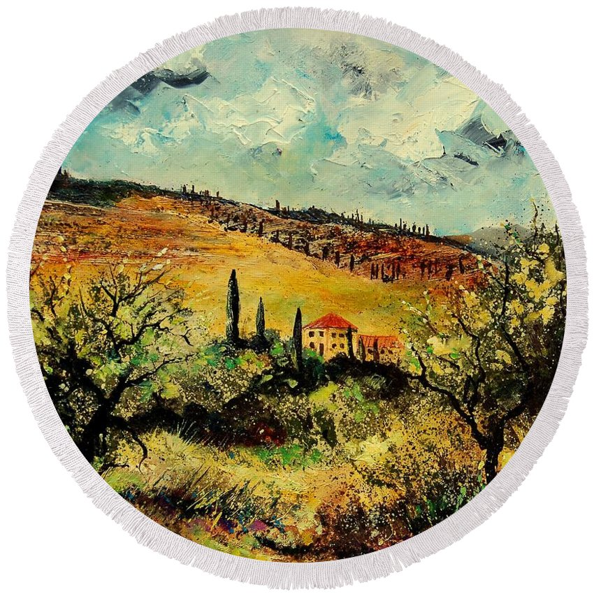 Provence Round Beach Towel featuring the painting Tuscany 67 by Pol Ledent