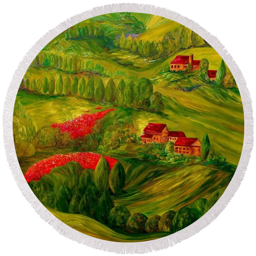Tuscany Round Beach Towel featuring the painting Tuscany At Dawn by Eloise Schneider