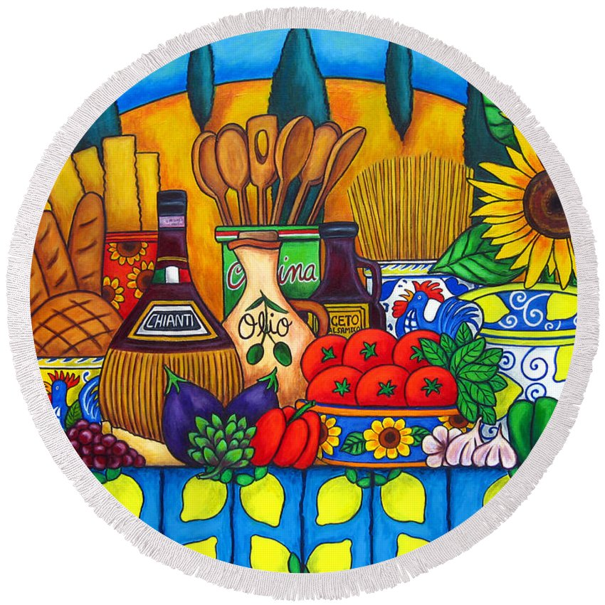 Still Life Round Beach Towel featuring the painting Tuscany Delights by Lisa Lorenz