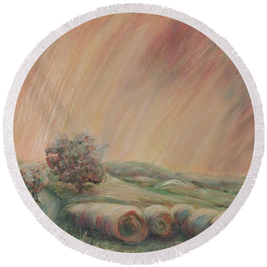 Landscape Round Beach Towel featuring the painting Tuscany Hayfields by Nadine Rippelmeyer