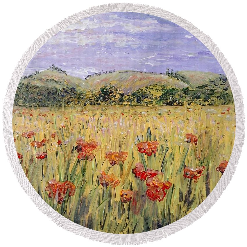 Poppies Round Beach Towel featuring the painting Tuscany Poppies by Nadine Rippelmeyer