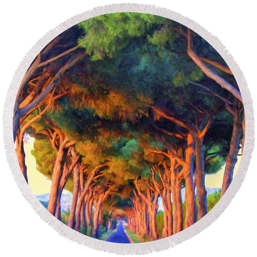 Italy Round Beach Towel featuring the painting Tuscany Tree Tunnel by Dominic Piperata