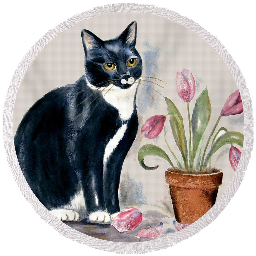 Cat Round Beach Towel featuring the painting Tuxedo Cat Sitting By The Pink Tulips by Frances Gillotti