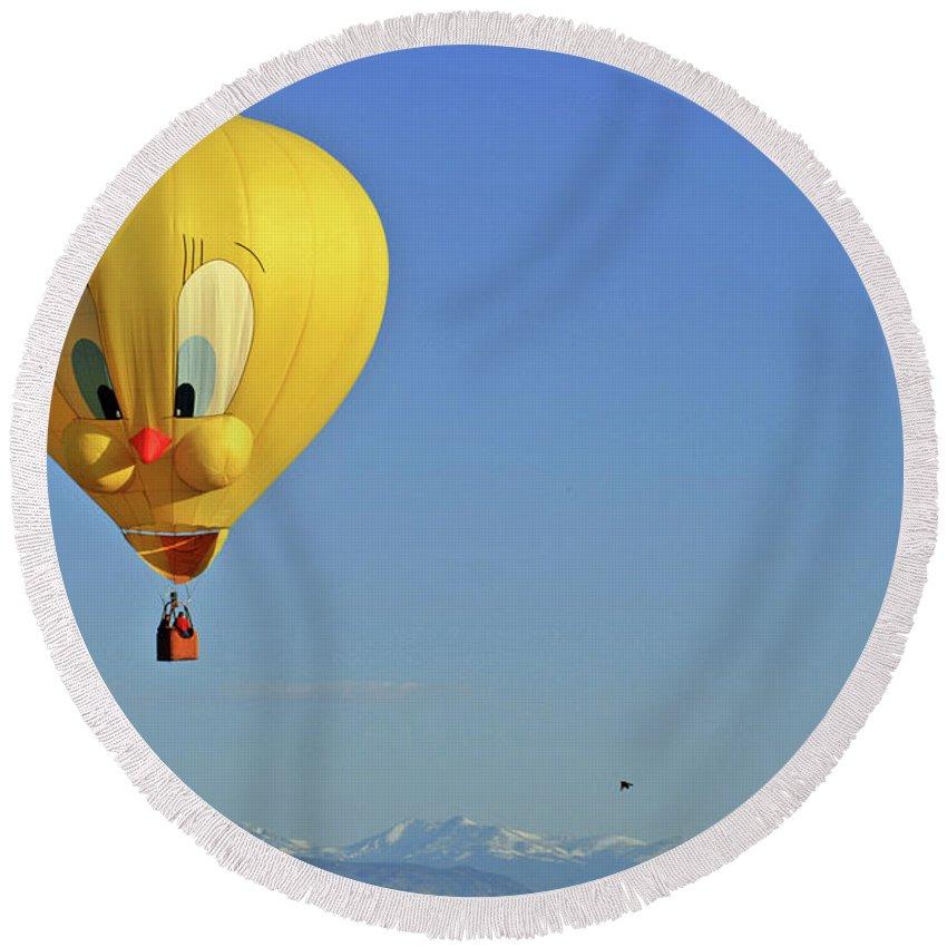 Balloon Round Beach Towel featuring the photograph Tweety Balloon by Scott Mahon
