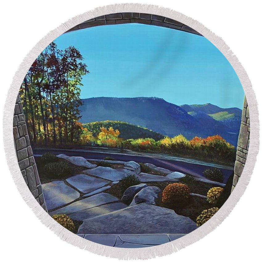 Mountain View Round Beach Towel featuring the painting Twilight at Hunter Ridge by Hunter Jay