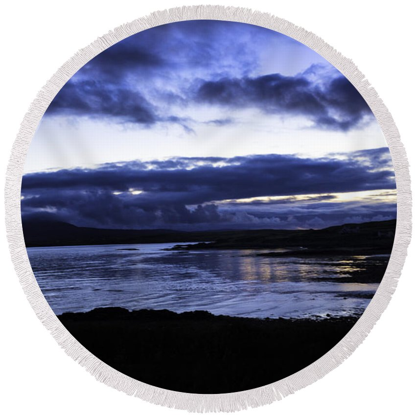 Twilight Round Beach Towel featuring the photograph Twilight At Loch Bracadale by Fran Gallogly