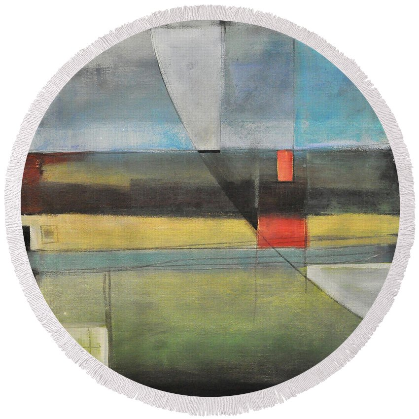 Harvest Round Beach Towel featuring the painting Twilight Harvest by Tim Nyberg