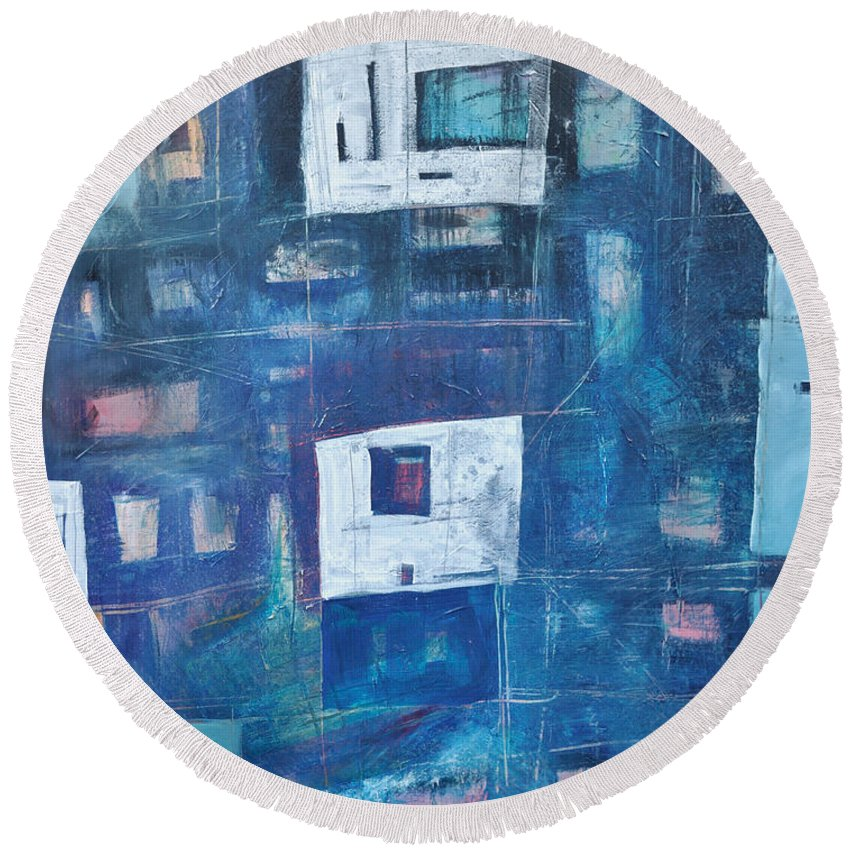 Abstract Round Beach Towel featuring the painting Twilight Highrise by Tim Nyberg