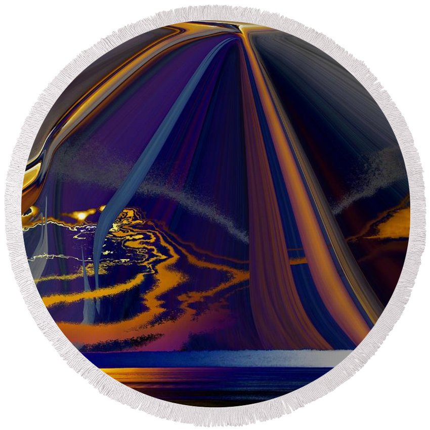 Abstract Round Beach Towel featuring the photograph Twilight Journey by Tim Allen