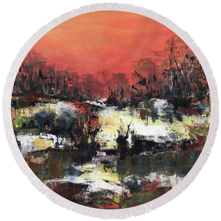 Abstract Round Beach Towel featuring the painting Twilight Madness by Aniko Hencz