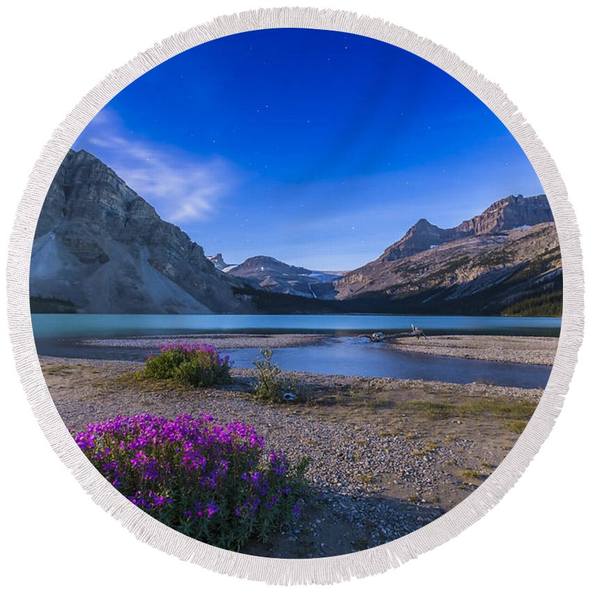 Alberta Round Beach Towel featuring the photograph Twilight On Bow Lake, Banff National by Alan Dyer