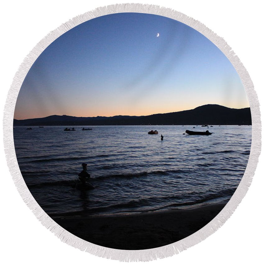Lake Tahoe Round Beach Towel featuring the photograph Twilight On Lake Tahoe by Carol Groenen