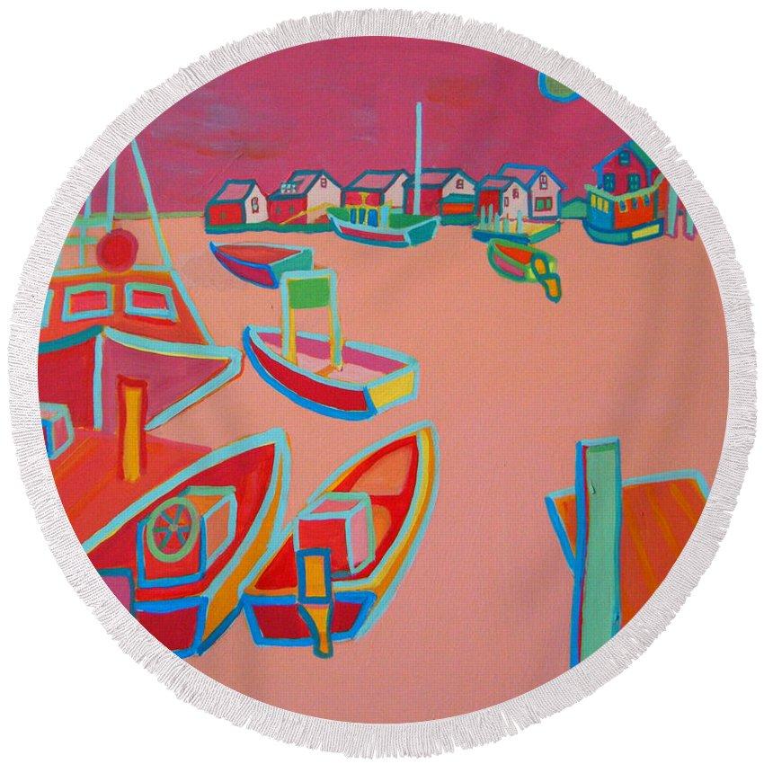 Seascape Round Beach Towel featuring the painting Twilight On Menemsha by Debra Bretton Robinson