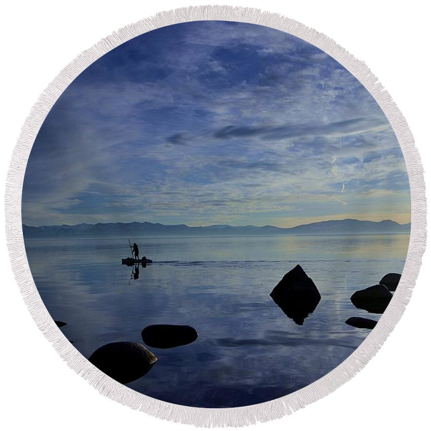 Lake Tahoe Round Beach Towel featuring the photograph Twilight Paddle by Sean Sarsfield