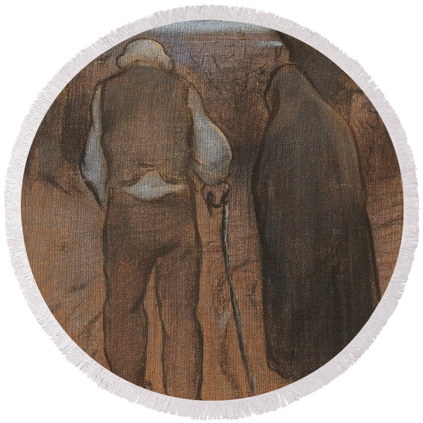Ramon Pichot Girones Round Beach Towel featuring the painting Twilight by Ramon Pichot Girones